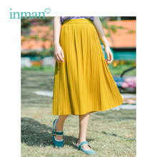 INMAN 2019 Summer New Arrival High Waist Slim Literary Pleated Retro Hongkong Style Medium A-line Women Skirt(China)