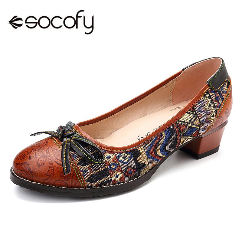 SOCOFY Bohemia Genuine Leather Splicing Jacquard Butterfly Knot Stitching Slip On Pumps Basic Women Pumps Fashion 2019 SpringSOCOFY Bohemia Genuine Leather Splicing Jacquard Butterfly Knot Stitching Slip On Pumps Basic Women Pumps Fashion 2019 Spring