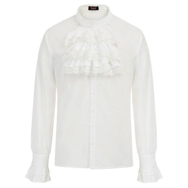 Blusa retro homens gótico steampunk festa de casamento clubwear medieval manga longa gola jabot decorado camisa topos chemise