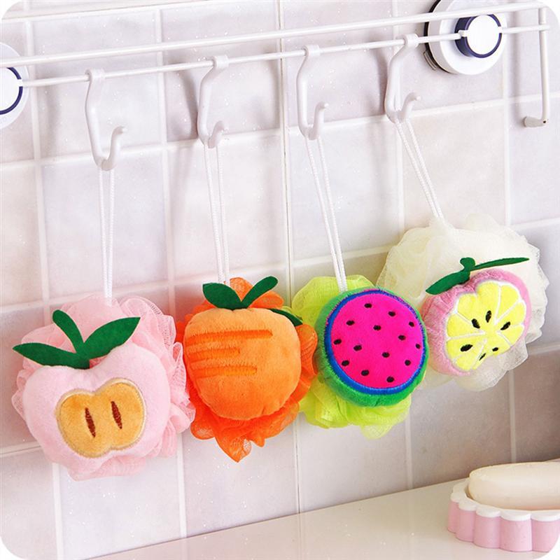 4pcs Colors Fruit Shaped Soft Bath Ball Cute Mesh Sponge Mesh Pouf Shower Ball Bath random Pattern