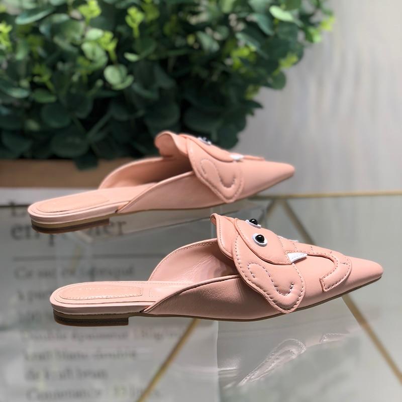 Es Pic Babouches En Conception Sandales Wedge D'été De Décontracté forme Femme Printemps Chic Pour Plate Chaussures Cuir Femmes As Été Point D'éléphant fYwfq16