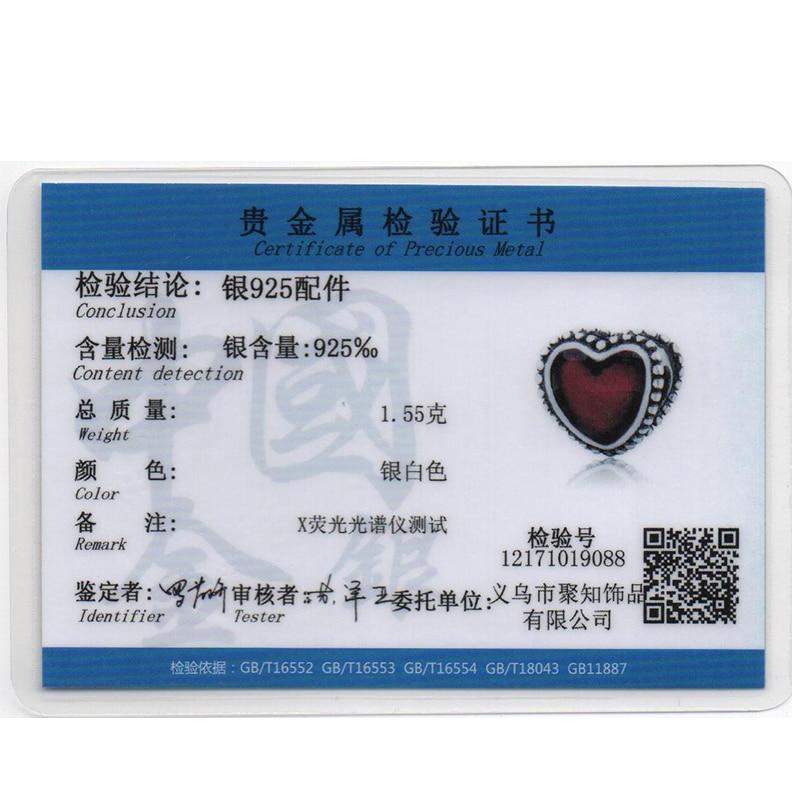 925 Sterling Silver European Enamel Röda Hjärtan Kärlek Pärlor - Märkessmycken - Foto 5