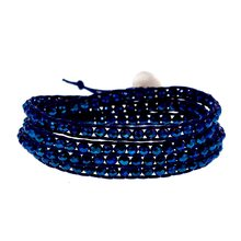 Metal blue Crystal Beaded on Navy Blue cord 4 Wrap Bracelet Fashion Chain Jewelry(China)
