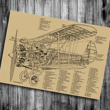 Gran oferta de partes de la estructura de la aeronave Casa salón de Café bar pub de papel kraft etiqueta de la pared póster retro vintage fotos
