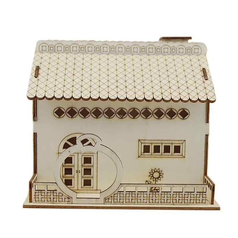 Novelty Wooden Villa Small Courtyard Piggy Bank With Night Light Money Box Rustic Home Desktop Decoration birthday Gift