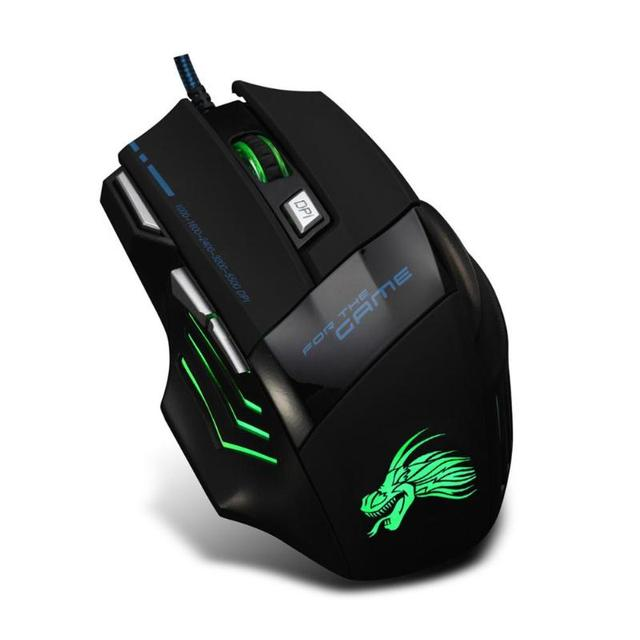5500DPI Wired Gaming Mouse Professional 7 Buttons Adjustable USB Cable LED Optical Gamer Mouse for Computer Laptop PC Mice Black