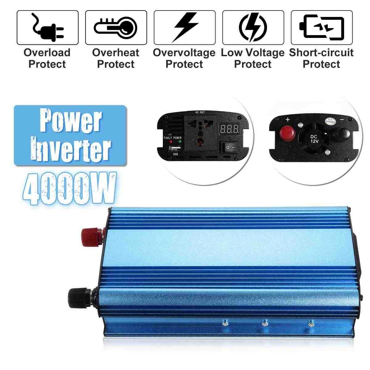 Becornce DC 48V/60V to AC 220V Solar Power Inverter 4000W Modified Sine Wave Converter for car truck