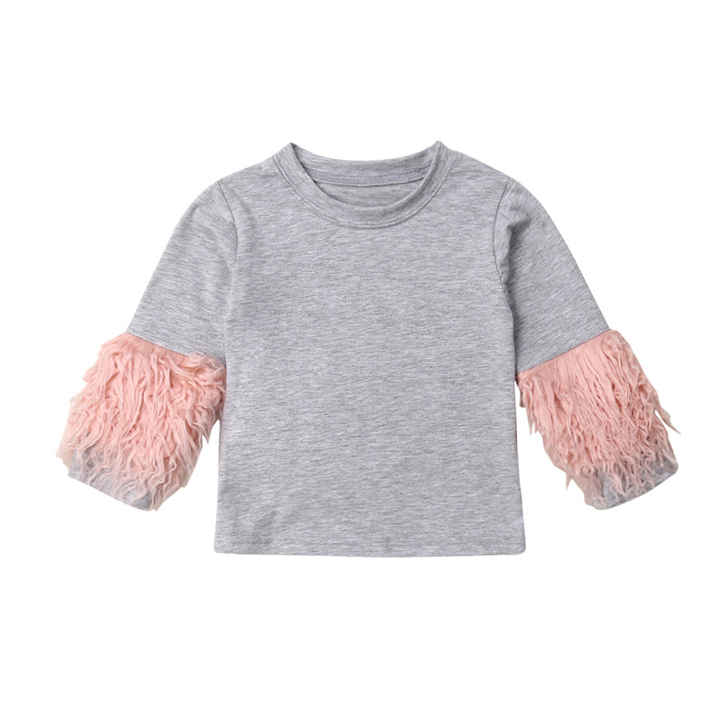 T-Shirts Toddler Long-Sleeve Baby-Girls Autumn Kids Winter Cotton Tassel One-Pieces Tops