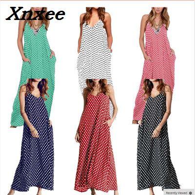 Sexy summer women dress plus size loose sling long dress vintage elegant beach vestidos bohemian style Xnxee in Dresses from Women 39 s Clothing
