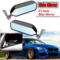 A Pair New Universal Retro Car Rearview Side Mirror Craft Square F1 Style w/Blue Mirror Surface Metal Bracket Rear View Mirror