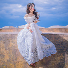 2019 New Women Summer Short Sleeve Designer Elegant Party Beach Dress White Sexy