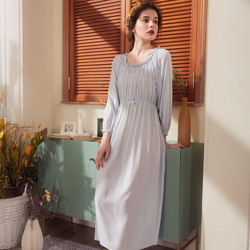 Cotton Woman   Nightgowns     Sleepshirts   Long Sleeve Long Pink White Dress Sleep & Lounge Cotton Sweet Lovely Nightwear