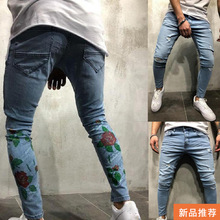 Rose Print Pencil Jeans for Men Light Blue Slim Fit Ripped Hole Denim Pants Heren Strech Jeans Pantalones Hombre Vaqueros Homme недорго, оригинальная цена