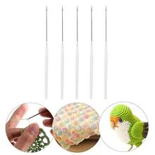 1pc/5pcs Plastic Handle Sweater Carpet Crochet Hook with Tongue DIY Sewing Needles for sweaters/carpets/shoes/ scarves(China)