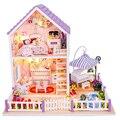 Roxo diy casa miniatura kit romântico casa crianças brinquedo diy decoração de madeira para presente do dia dos namorados feminino