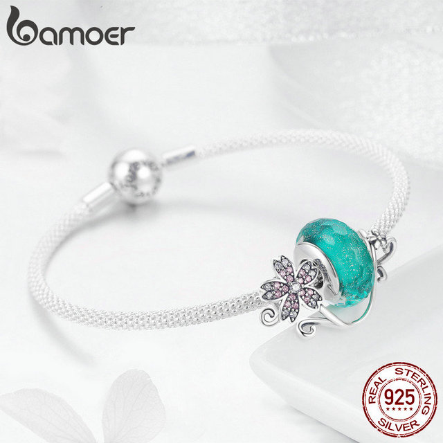 Bamoer authentic 925 sterling silver daisy flower green glass beads strand charms bracelets for women 925 silver jewelry scb822