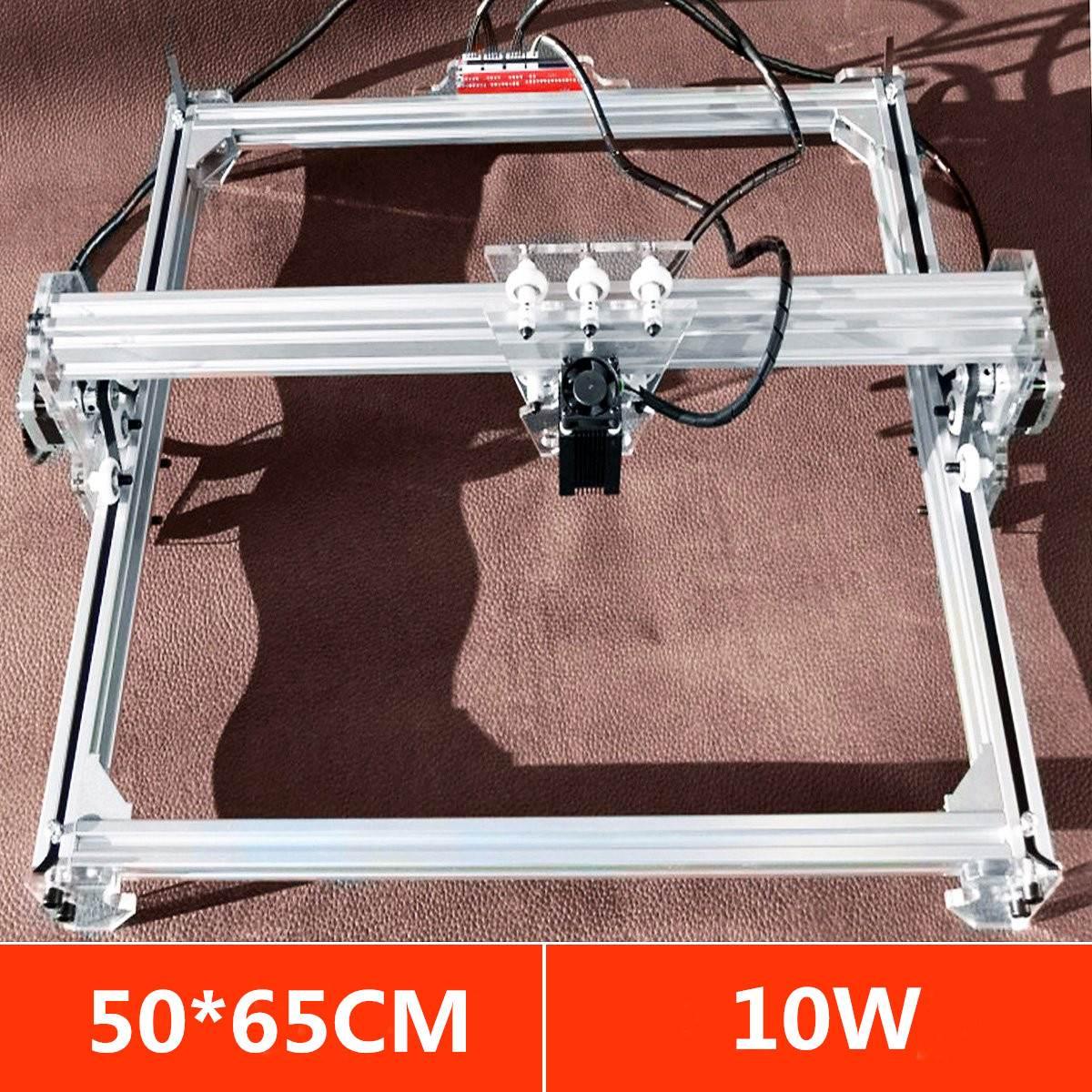 Zone 50*65 cm Mini Laser Machine De Gravure De Coupe Imprimante DC 12 v Bois Cutter + 10 w Bleu laser Tête Puissance Ajuster DIY Kit De Bureau
