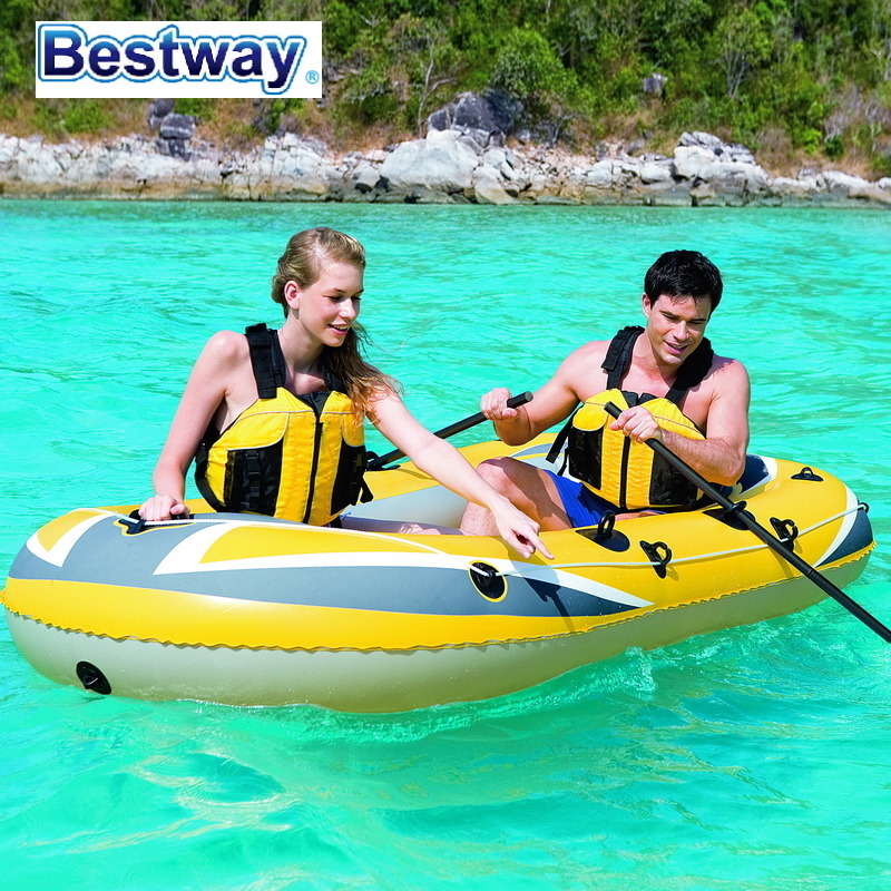 """61065 Bestway 255*127cm(100""""*50"""") Inflatable Fishing Boat/3-person Rubber Boat/assault Boat/rubber Boat/outdoor Thickened Kayak Sturdy Construction"""