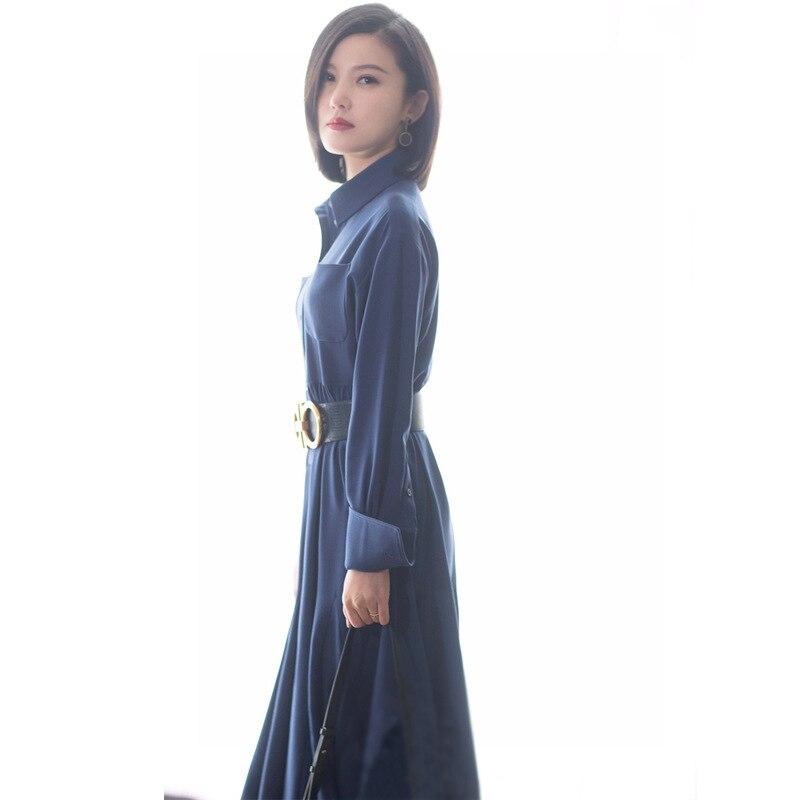 Étoile européenne avec le même paragraphe robe bleue longue section taille haute femme populaire élégant tempérament 2019 printemps nouveau