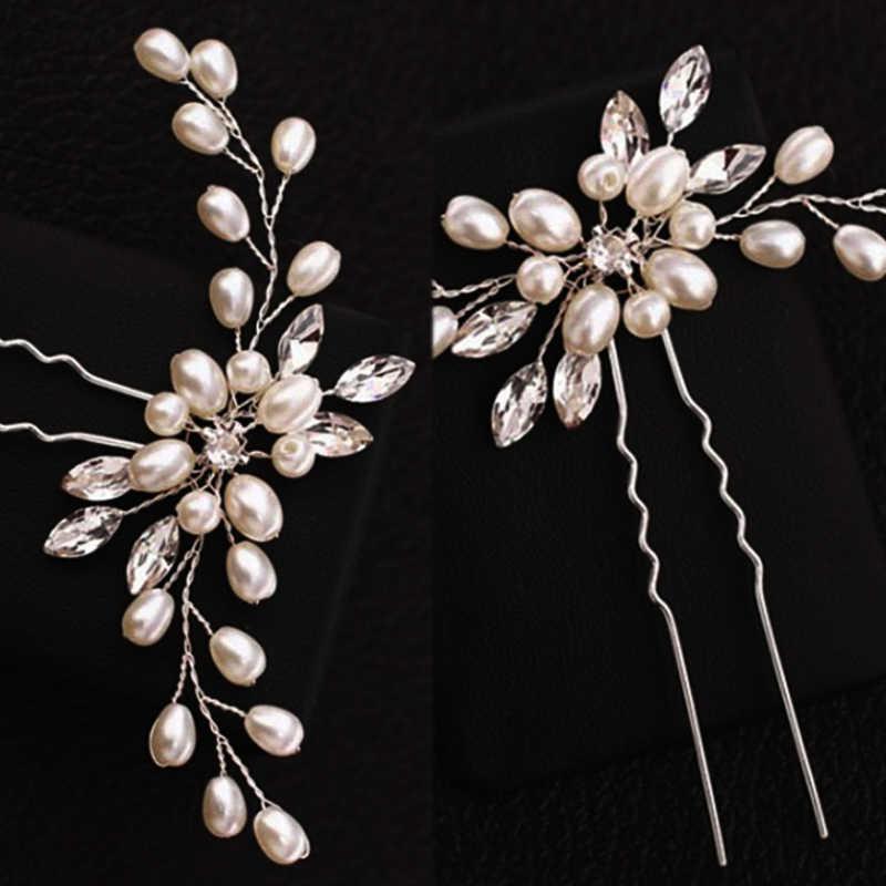 Neue 1PC Braut Hochzeit Haar Zubehör Blume Silber Haar Pins Brautjungfer Braut Schleier Kristall Weiße Perle Handgemachte Haarnadel