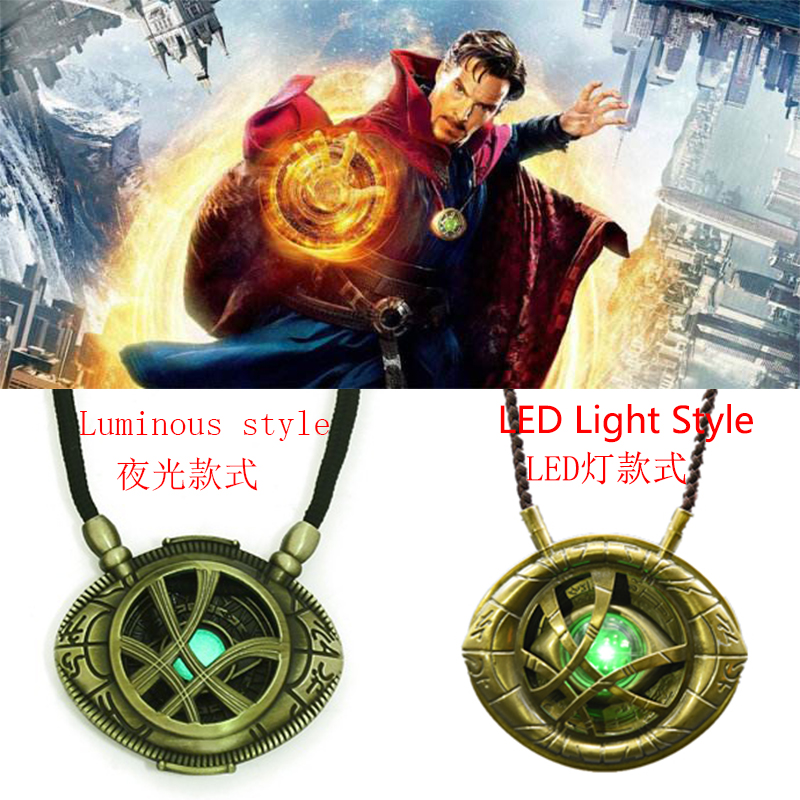 Superhero Movie The Avengers 3 Dr. Strange Eye Of Agamotto Badge Necklace  LED Light Cosplay Costumes Noctilucence Props