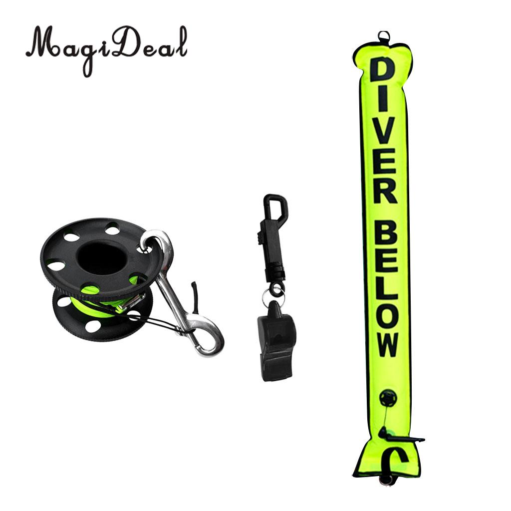 MagiDeal High Visibility Dive Safety Sausage SMB Surface Marker Buoy Dive Reel Whistle for Underwater Scuba