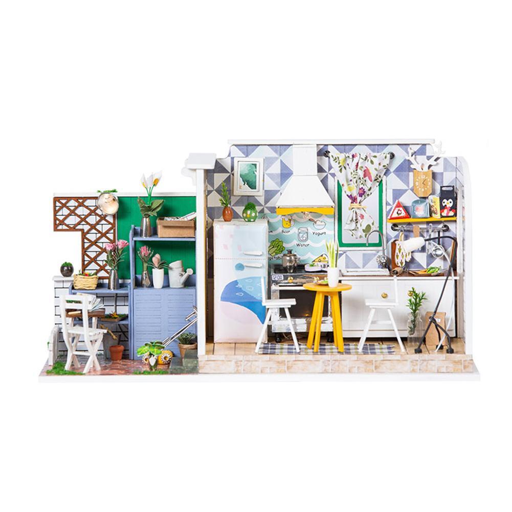 Bricolage Puzzle assemblage Cottage fait à la main en bois jouet maison Mini poupée maison artisanat décorations créatif anniversaire présent