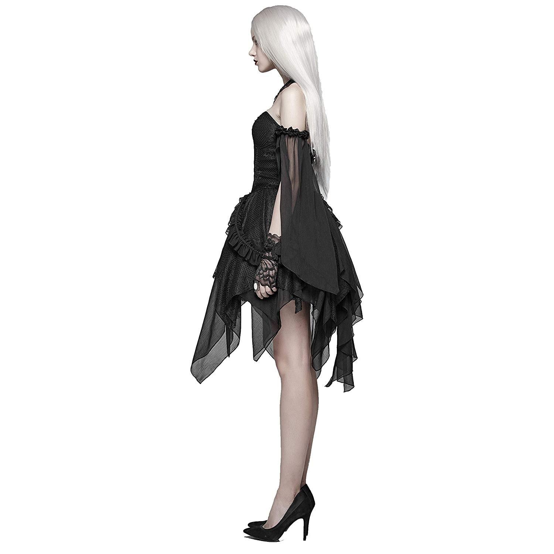 PUNK RAVE Vrouwen Gothic Lolita Zwart Kant Sexy Jurk Mode Chiffon Mini Party Dress Avond Party Slash Neck Fashion Jurken - 2
