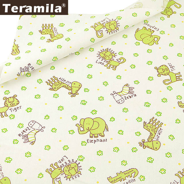 Teramila 100% Cotton Fabric Dye Cartoon Animals Design Material Printed DIY Quilting Textile Twill Sewing Tela Tissu Patchwork