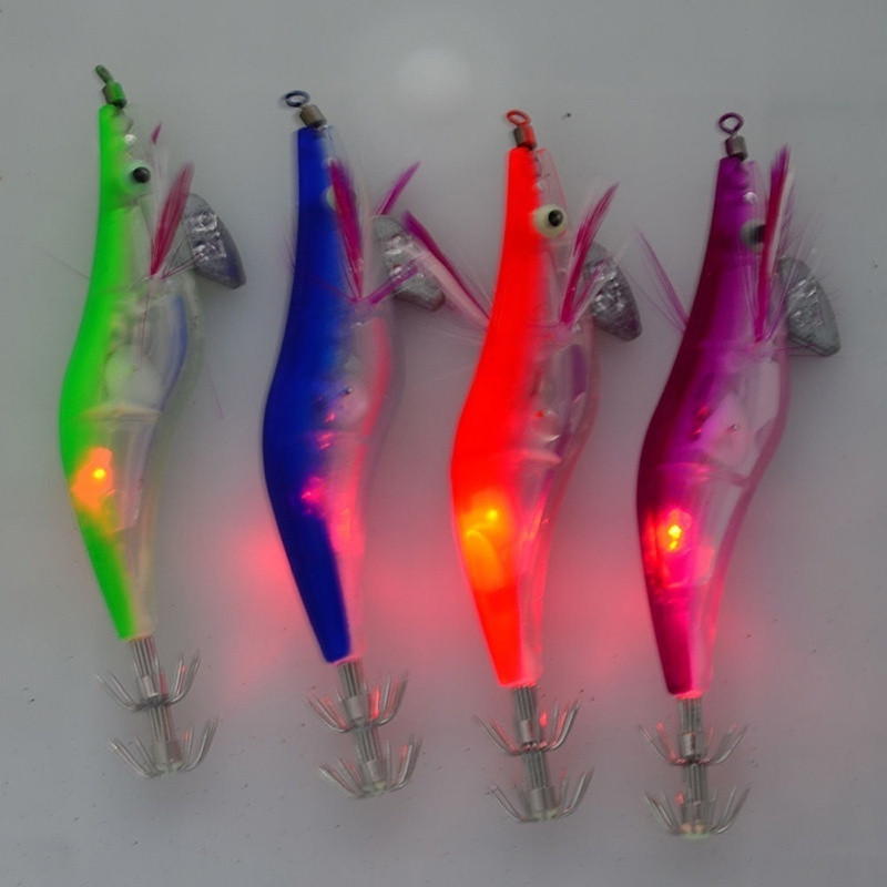 LED Electronic Plastic Shrimp Lure Luminous Squid Jig Octopus Luminous Fishing Lead Head Hooks New Arrival 6 Colors(China)
