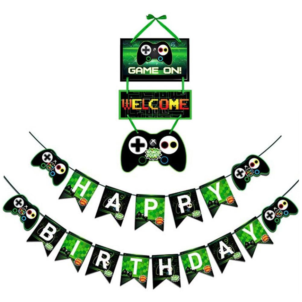Paper Happy Birthday Banner Game Theme Party Decoration Birthday Letter Banner Door Card Tag Video Game Party Supplies Practical image