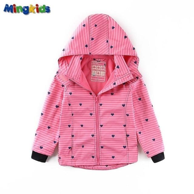 Mingkids/ветровка высокого качества для девочек, Непромокаемая Куртка с флисовой подкладкой, мягкая оболочка, спортивный плащ на осень и весну