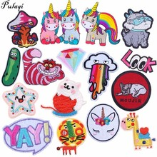 Pulaqi Rick And Morty Iron On Patches Cartoon Be In Love Unicorn Cats Appliques Diy Ocean Animal Stickers Coat Jeans H