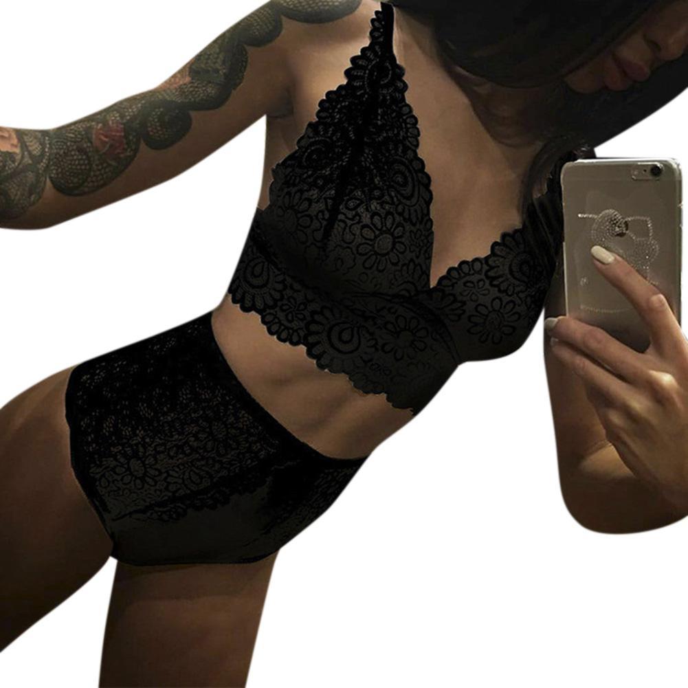 MISSKY 2PCS/Set Sexy Women Black White Solid Color Underwear Panties Hot Lingerie Lace Bra and Briefs