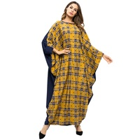 Muslim Abaya Women Plaid Patchwork Dress Bat Sleeve Loose Robes Plus Size Maxi Long Dress Middle Eastern Muslim Casual