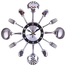 31-41cm Stainless Steel Kitchen Spoon Fork Clock Silent Wall Clock Living Room Decor Mediterranean Style Home Decoration- Silver