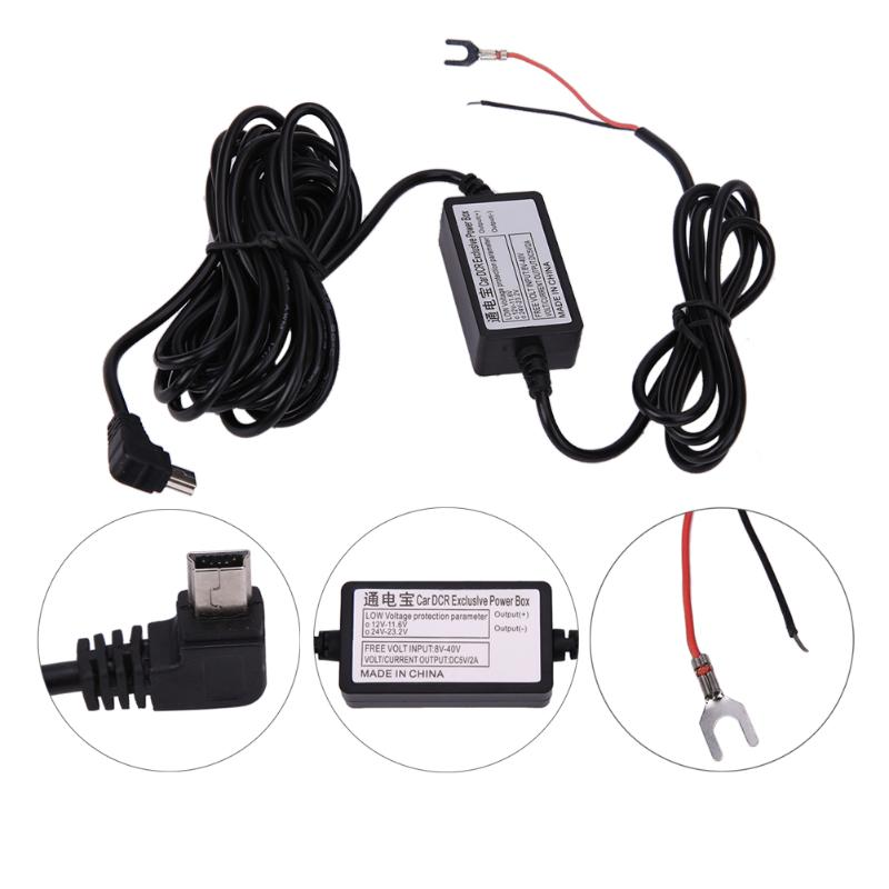 DC <font><b>12V</b></font> to 5V 2A 3M/4M <font><b>Car</b></font> Charger <font><b>Cable</b></font> Mini <font><b>USB</b></font> Hard wire Charger Cord Auto Charging Kit for Dash Cam Camcorder Vehicle <font><b>DVR</b></font> Kit image