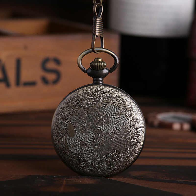 فوب ساعة جيب خمر البرونزية Steampunk من ساعة جيب كوارتز القراصنة الجمجمة رئيس الرعب مع حزام سلسلة الرجال/النساء هدية عيد الميلاد
