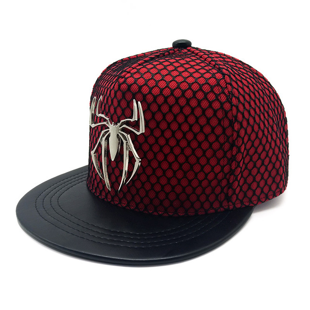 df793e29144 New Pattern Hats Man Woman Net Hat Metal Three-dimensional Spider Hip Hop  Hat Outdoors Sunshade Flat Net Cap Lovers Hat