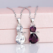 Purple Crystal Cat Pendant Necklace Women Jewelry Chokers Necklaces Gothic Collar Necklaces Collier Femme Collane Necklace(China)