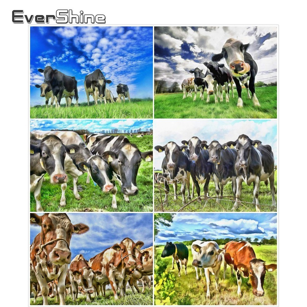 EverShine Diamond Embroidery Animals Pictures Of Rhinestones DIY 5D Full Round Diamond Mosaic Cattle Painting With Diamonds