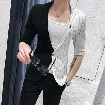 Korean Suit Mens Splice Suits Slim Fit Social Club 2 Pcs Men Smoking Para Hombre Combinaison Homme Stripe Mens Suits With Pants