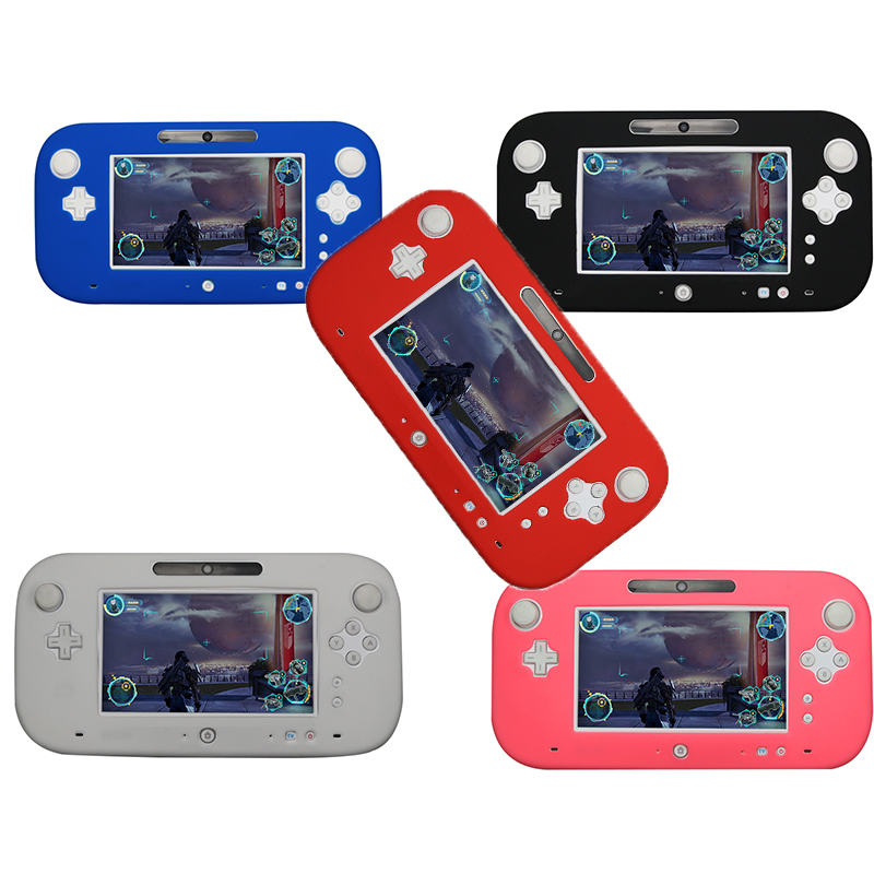 Shell Case Cover Protective Soft Skin Gamepad Accessories Controller Soft Silicone Rubber 5 Color For Nintend Wii U