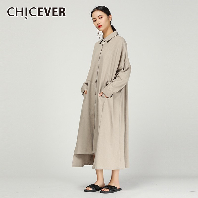 CHICEVER 2019 Spring Women's Windbreakers Lapel Long Sleeve Loose Oversize Black   Trench   Coat Female Fashion Casual Clothes New