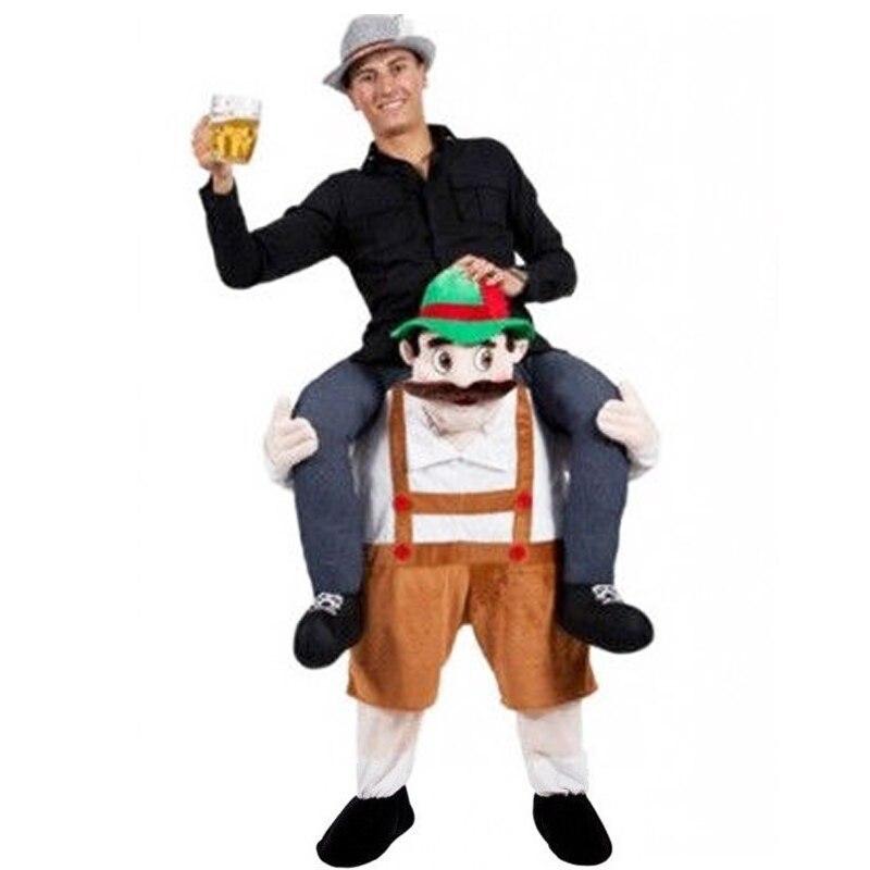 Passeio de ombro na mascote traje piggy volta festa fantasia vestido transportar traje (homem cerveja/marrom)