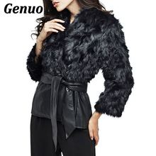 PU Leather Fur Coat Jacket Black Patchwork Women Winter Thick Warm with Sashes Belt Bowknot Tie Outwear Plus Size 5XL Genuo