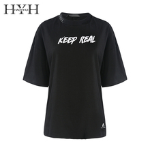 HYH HAOYIHUI 2019 Harajuku Simple Letter Printed T-shirts Casual Tee Solid Color Short Sleeve Women Clothing