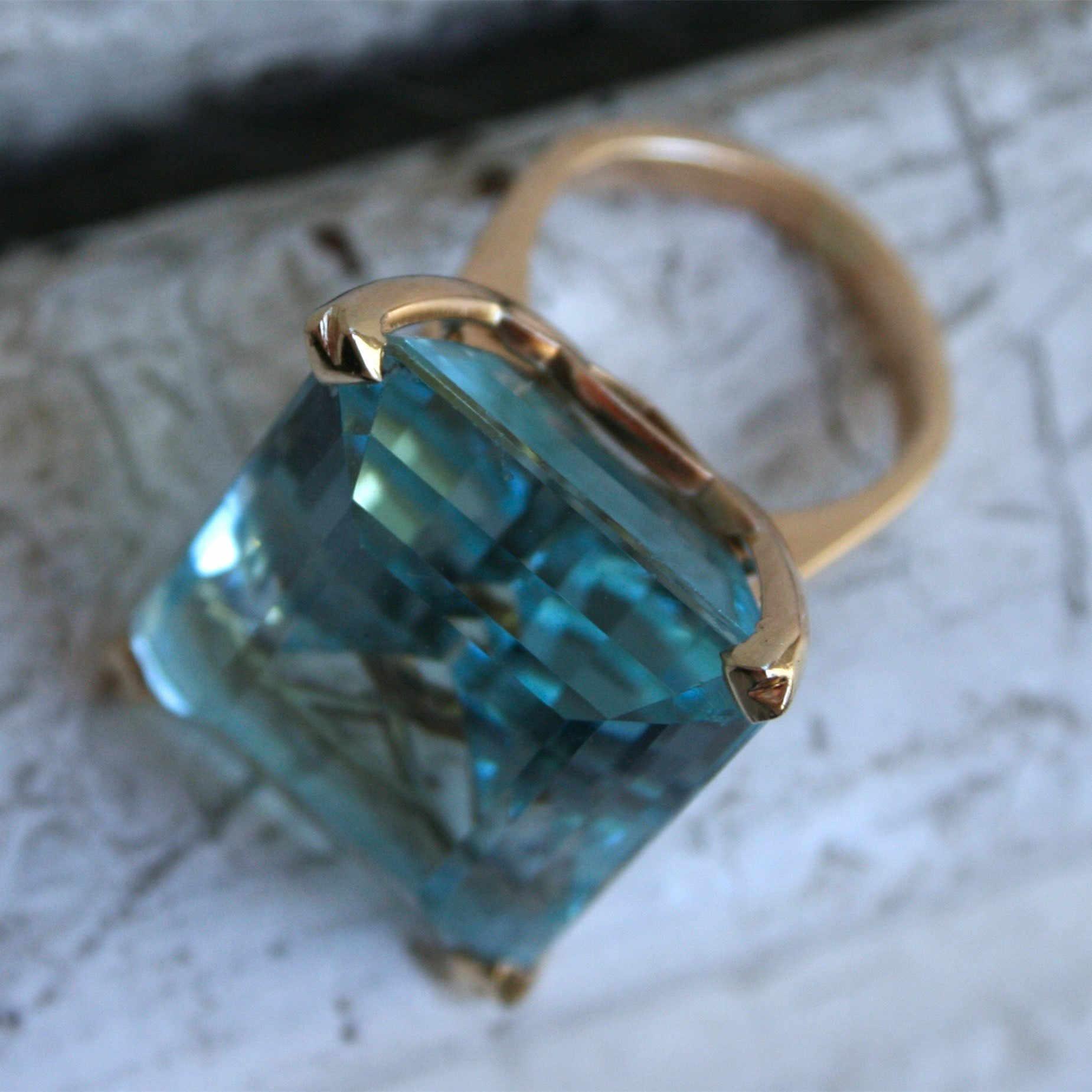Sea Blue Topaz หินเจ้าหญิงแหวนเพชรหมั้นแหวน 14K Gold Anillos สำหรับผู้หญิง Bizuteria หยกเครื่องประดับเพชร