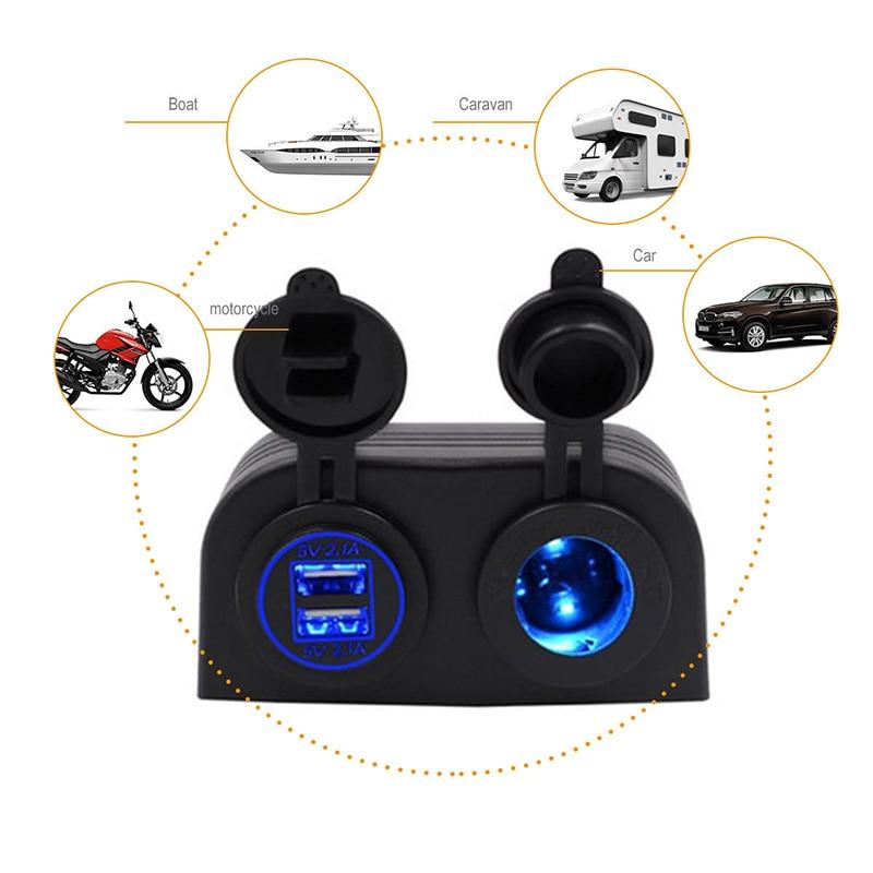 12V DUAL USB PORT Car Cigarette Lighter Socket SPLITTER CHARGER POWER ADAPTER