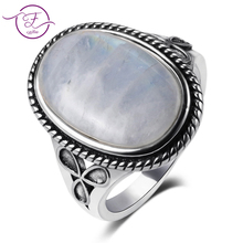Natural Moonstone Rings for Men Womens Silver 925 Jewelry Vintage Party With 11x17MM Big Oval Gemstone Gifts Wholesale